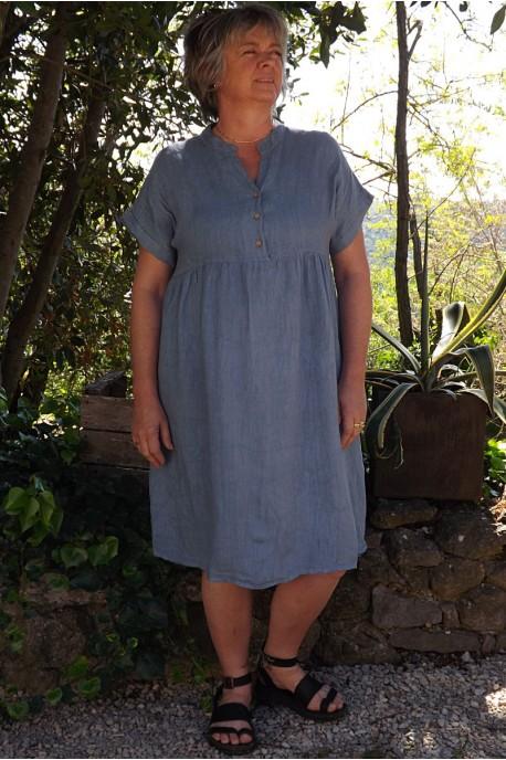 Robe en lin Magalie bleu jean