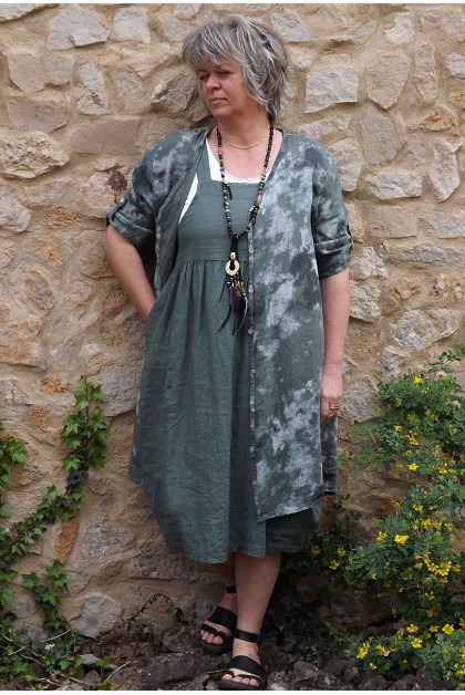 Veste ou chemise en lin Antéa kaki et robe Giséle en lin