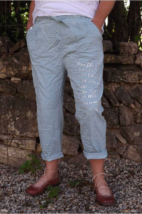 Pantalon grande taille Tim vert d'eau imprimé