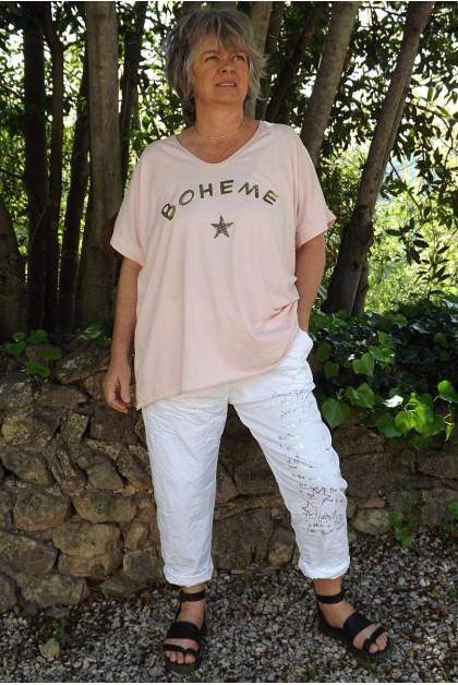T-Shirt imprimé bohème rose poudré et pantalon Tim imprimé