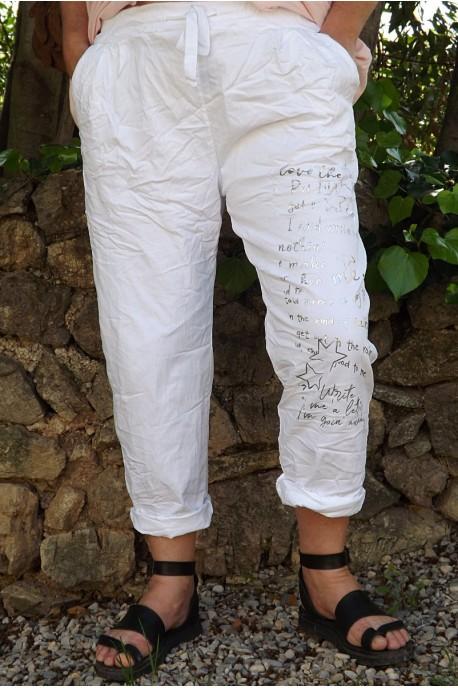 Pantalon grande taille Tim blanc imprimé