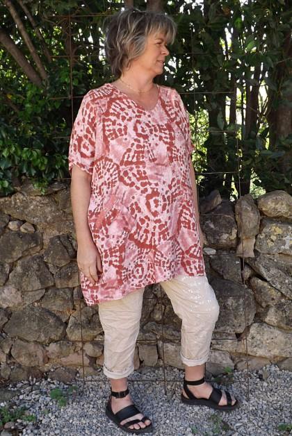 Tunique lin grande taille Adrienne terracotta et pantalon Tim beige imprimé