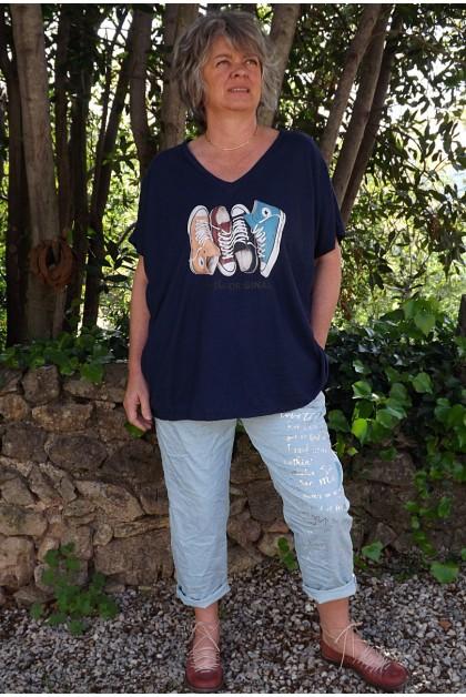 T-Shirt imprimé basket marine et pantalon Tim vert d'eau imprimé
