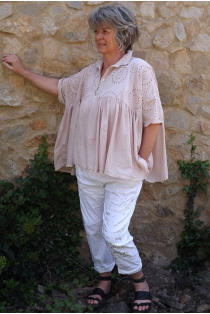 Tunique broderie anglaise Jasmine rose poudré et pantalon Tim imprimé