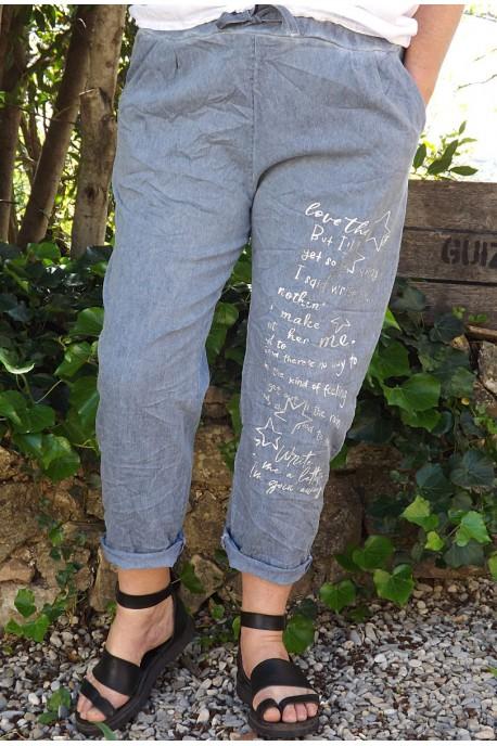 Pantalon grande taille Tim bleu jean imprimé