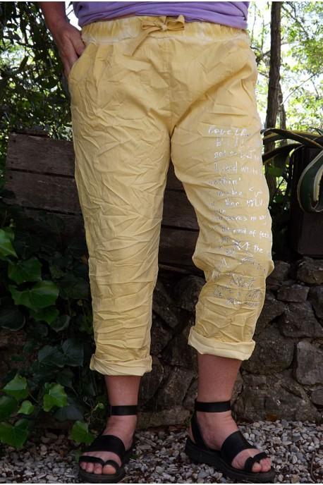 Pantalon grande taille Tim soleil poudré imprimé