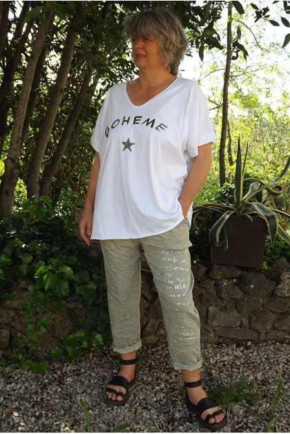 T-Shirt grande taille imprimé bohème blanc et pantalon Tim