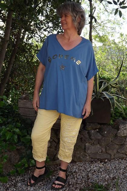T-Shirt imprimé bohème bleu et pantalon Tim