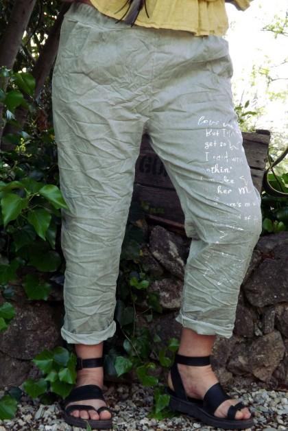 Pantalon grande taille Tim kaki imprimé