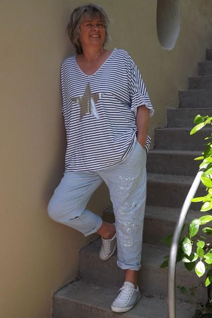 T-Shirt marinière grande taille bleu et pantalon Tim bleu clair