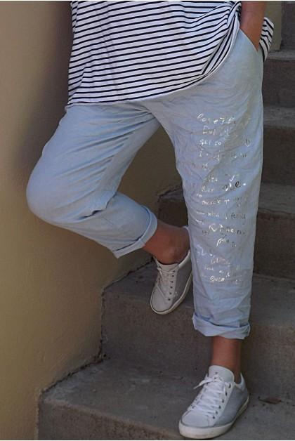 Pantalon grande taille Tim bleu clair imprimé