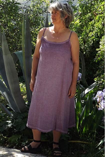 Robe maille de lin Gina aubergine