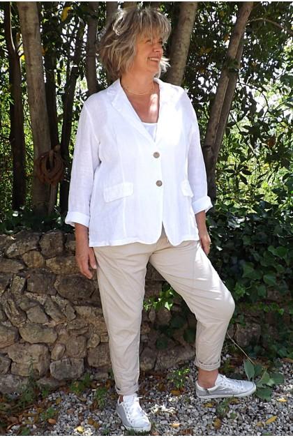 Veste blazer lin Diane Blanche et pantalon Oscar beige