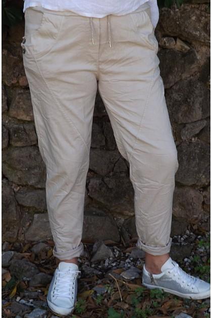 Pantalon grande taille Oscar beige