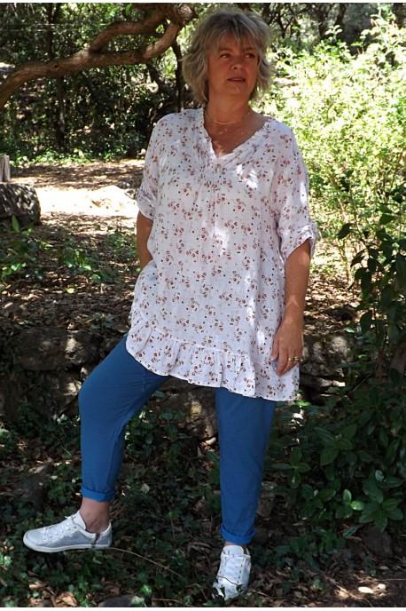 Tunique lin grande taille Mélanie imprimé fleurs et pantalon Oscar