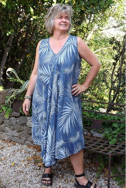 Robe lin sans manche Ines bleu jean