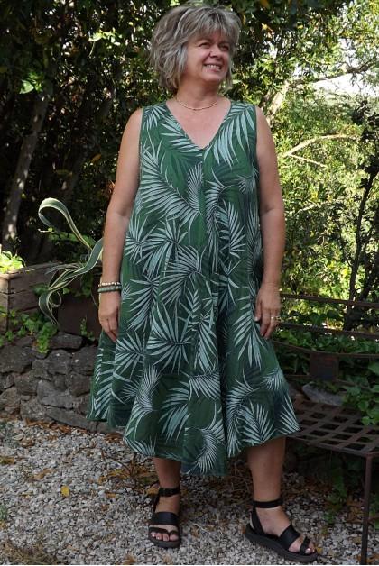 Robe lin sans manche Ines vert sapin
