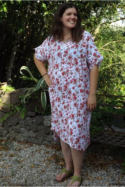 Robe longue lin grande taille Dorothée blanche