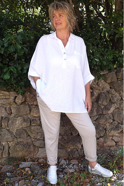 Blouse lin oversize Angèle blanche