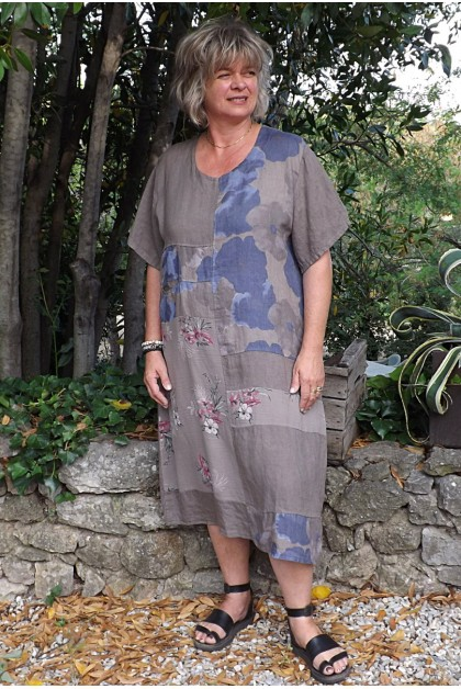 Robe longue lin grande taille Soizic taupe