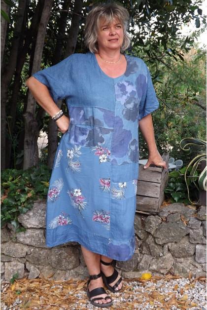 Robe longue lin grande taille Soizic bleue