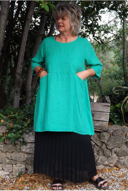 Tunique lin Emma vert prairie