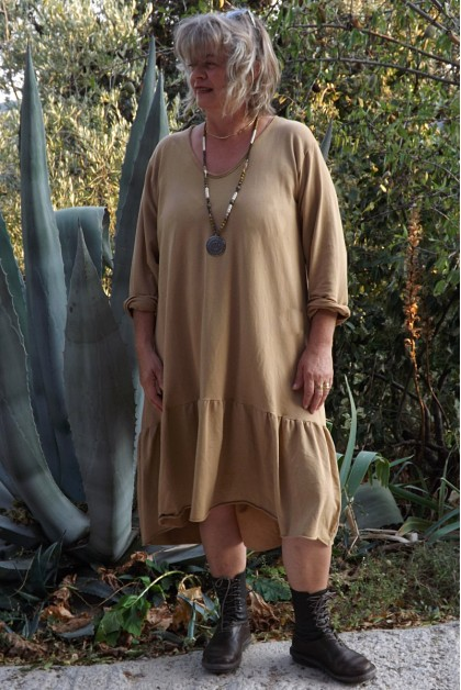 Robe grande taille Célestine havane