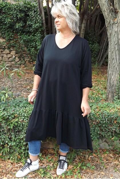 Robe grande taille Célestine noire