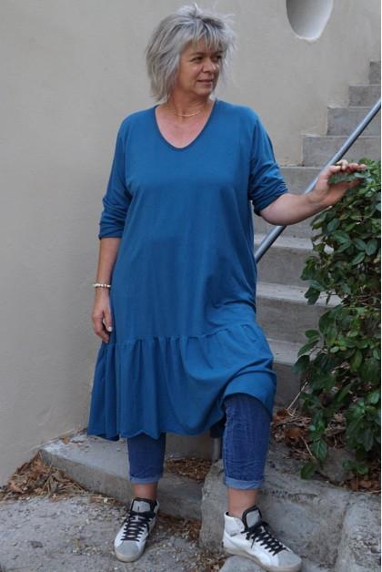 Robe grande taille Célestine bleu canard