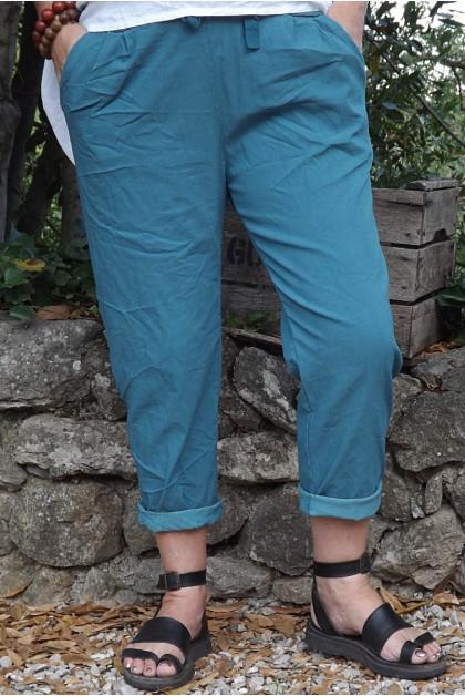 Pantalon grande taille Tim bleu canard