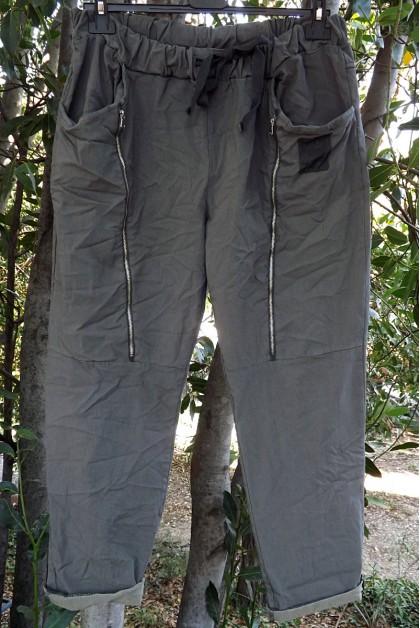 Pantalon grande taille Tom gris cendré