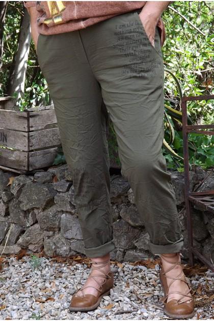 Pantalon grande taille Willou kaki