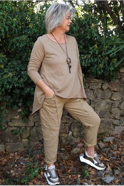 T-Shirt manches longues César miel ambré et pantalon Tom cappuccino