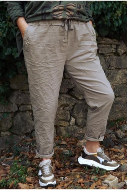 Pantalon grande taille Anatole beige,